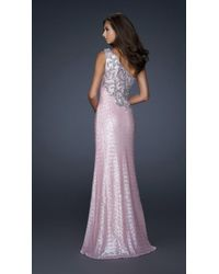 La Femme Pink One Shoulder Strap Embellished Dress 17804