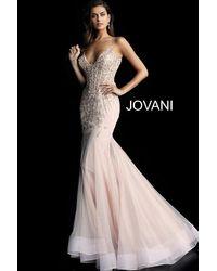 4adc1d5beb Jovani - Black 63704 Corset V Neck Spaghetti Strap Mermaid Prom Dress - Lyst