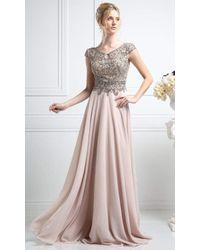 Cinderella Divine Multicolor Beaded V-neck A-line Dress Cr721