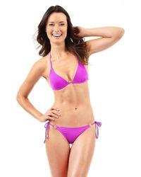 Voda Swim Purple Magenta Envy Push Up Hoop String Bikini Top