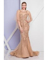 Terani Couture Multicolor 1722gl4472 Illusion Flutter Sleeve Mermaid Gown