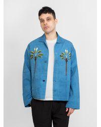 STORY mfg. Blue Twill Short On Time Jacket Indigo for men