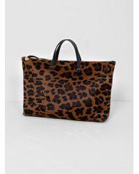 Clare V. Brown Attaché Bag Leopard Cognac