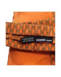 Hermès - Vintage Orange Patterned Silk Scarf - Lyst