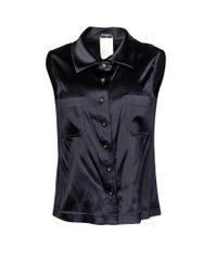 Chanel Black Silk Collared Blouse