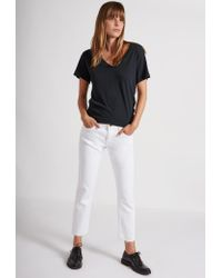 Current/Elliott - White The Cropped Straight Leg Jean - Lyst