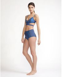Cynthia Rowley - Blue Metallic Cut-out Swimsuit Top - Lyst