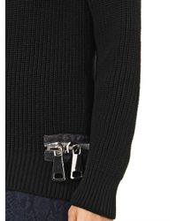 Christopher Kane - Black Double-Zip Cotton-Knit Sweater - Lyst