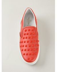 Valentino - Red 'rockstud' Slip-on Sneakers - Lyst