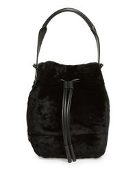 Opening Ceremony - Black 'mini Izzy' Genuine Shearling Backpack - Lyst