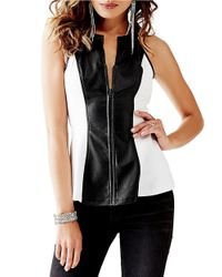 Guess Black Faux Leather Peplum Top