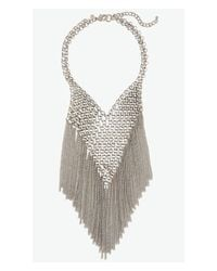 Express - Metallic Chain Mail Metal Fringe Necklace - Lyst