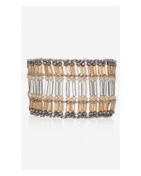 Express Pink Woven Bugle Bead Cuff Bracelet