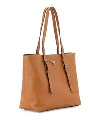 49f99262d547 Prada Saffiano Soft Tote Bag in Brown - Lyst