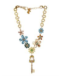 Dolce & Gabbana Metallic Crystal-embellished Flower and Key Necklace
