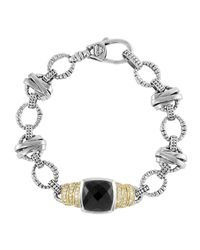 Lagos | Metallic Black Spinel & Diamond Link Bracelet | Lyst
