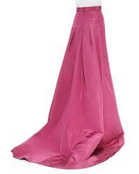 Carolina Herrera - Purple Silk Faille Pleated-Back Ball Skirt - Lyst