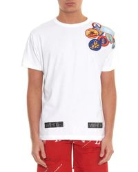 Off-White c/o Virgil Abloh White Embroidered Patch and Stripe-Print T-Shirt for men