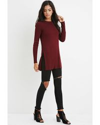 Forever 21 - Purple Side-slit Sweater Tunic - Lyst