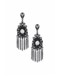 TOPSHOP | Black Lace Chain Drop Earrings | Lyst