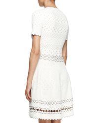 Alexander McQueen - White Stretch Pointelle-knit Dress - Lyst