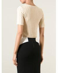 Alice + Olivia | Natural Cropped Perforated T-Shirt | Lyst