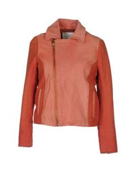 Leon & Harper - Red Leather Outerwear - Lyst