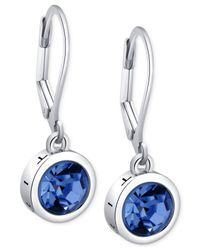 T Tahari | Silver-tone Blue Crystal Signature Drop Earrings | Lyst