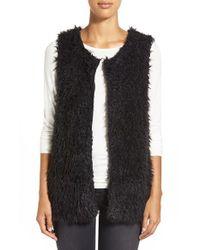 Bobeau | Black Faux Fur Vest | Lyst