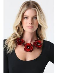 Bebe Red Resin Flower Necklace
