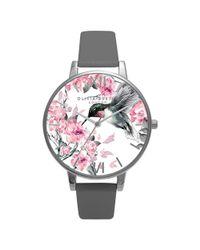 Olivia Burton Multicolor Women's Painterly Prints Leather Strap Watch