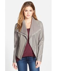 T Tahari | Gray 'Luisa' Knit Panel Drape Front Leather Jacket | Lyst
