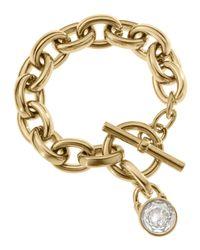 Michael Kors - Metallic Chainlink Padlock Bracelet Golden - Lyst