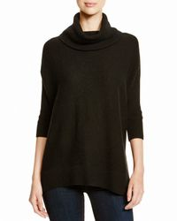 Aqua | Black Cashmere Cashmere Turtleneck Three Quarter Sleeve Poncho | Lyst