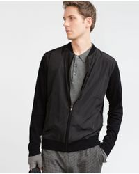 Zara | Black Jacket With Contrast Fabric Front for Men | Lyst