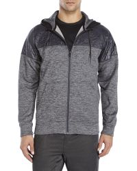 Adidas Gray Space-Dye Mixed Media Zip Front Hoodie for men