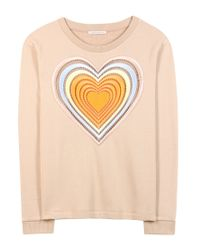 Christopher Kane Natural Love Hearts Embroidered Cotton Sweater