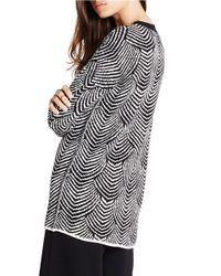 BCBGeneration Black Scallop Deco Cotton-rich Sweater
