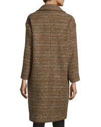 Stella McCartney - Brown Tweed Wool Double-breasted Coat - Lyst