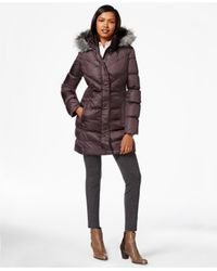 Via Spiga | Purple Faux-fur-trim Down Puffer Coat | Lyst