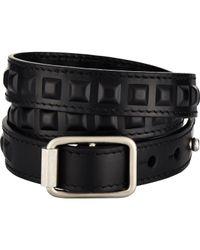 Balenciaga - Black Embossed-grid Triple-wrap Bracelet for Men - Lyst