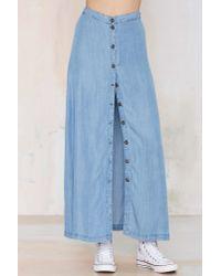 Nasty Gal - Blue Field Of Dreams Denim Maxi Skirt - Lyst