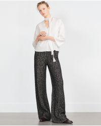 Zara | White Bow Top | Lyst