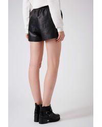 black leather runner shorts