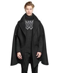 Givenchy Black Wool Cotton Blend Cape for men