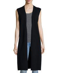 Neiman Marcus | Black Long Cashmere Vest W/ Side Slits | Lyst