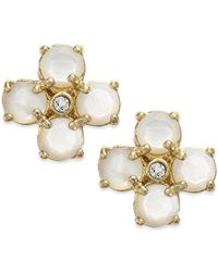 kate spade new york - Metallic 14k Gold-plated Mother-of-pearl And Crystal Stud Earrings - Lyst