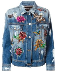 Marco Bologna | Blue Embroidered Distressed Denim Jacket | Lyst