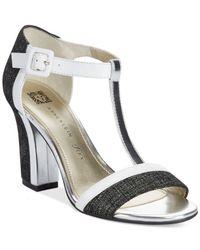 Anne Klein | White Cristyn T-Strap Sandals | Lyst