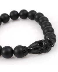 Lucifer Vir Honestus Black Onyx Bead Skull Bracelet for men
